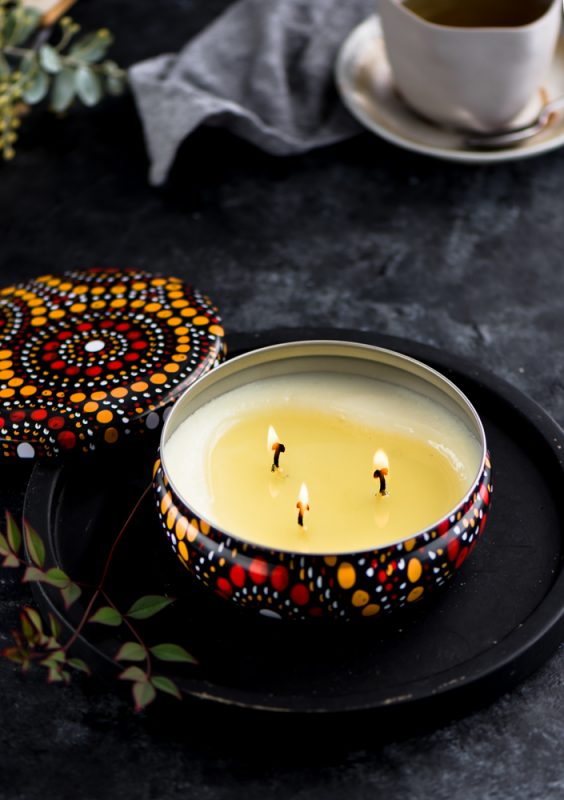 Bespoke, authentic Indigenous artwork adorn these beautiful souvenir soy candle tins.