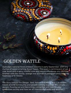 Golden wattle candles soy aboriginal art